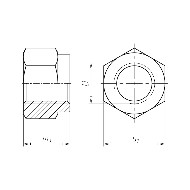 Hexagonal nut with clamping piece (non-metal insert) - 2