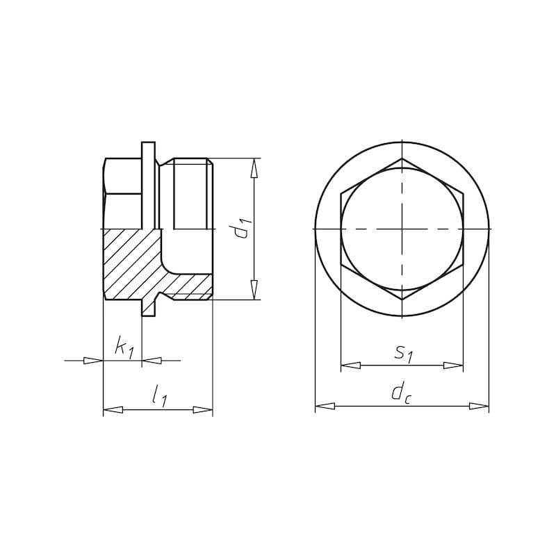 Verschlussschraube mit Außensechskant, kurzer Einschraubzapfen - 2