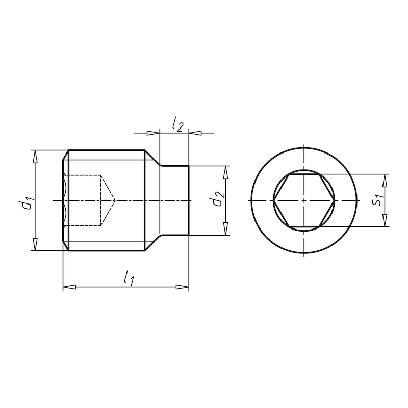 Gewindestift mit Innensechskant und Zapfen - STI-ZAPF-ISO4028-A2-21H-IS2,5-M5X25