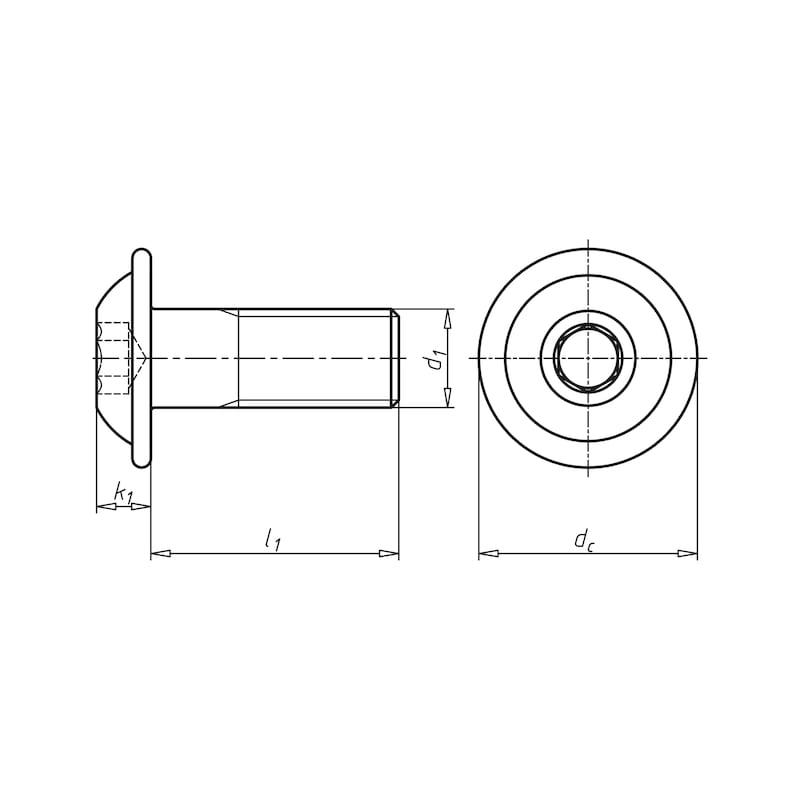 平らな半丸頭ネジ - キャップボタンボルト ZN 10.9 M6X25