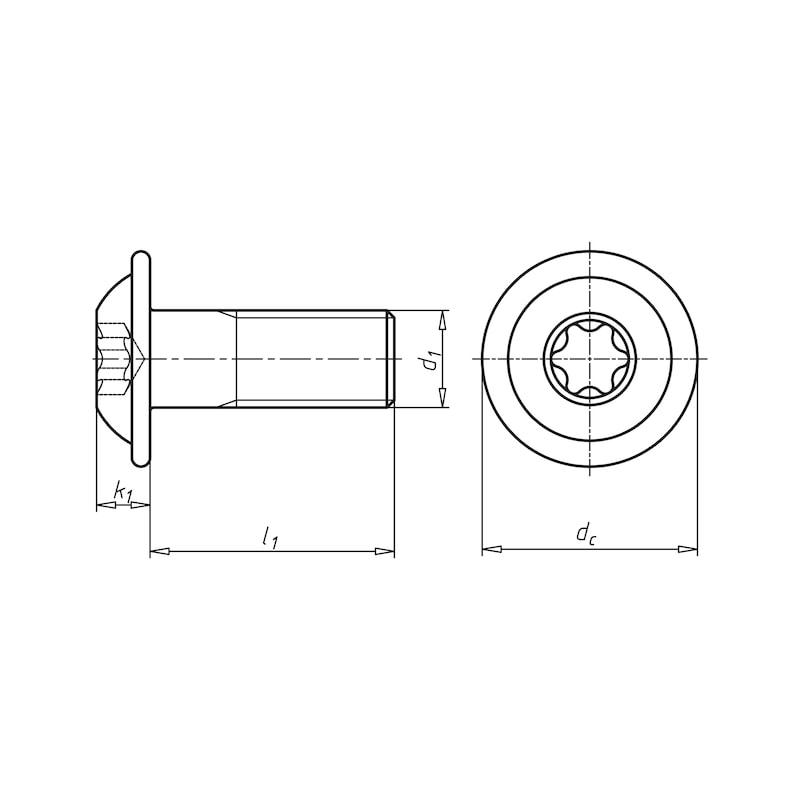 Schraube abgeflachter Halbrundkopf und Bund mit Innensechsrund - 2