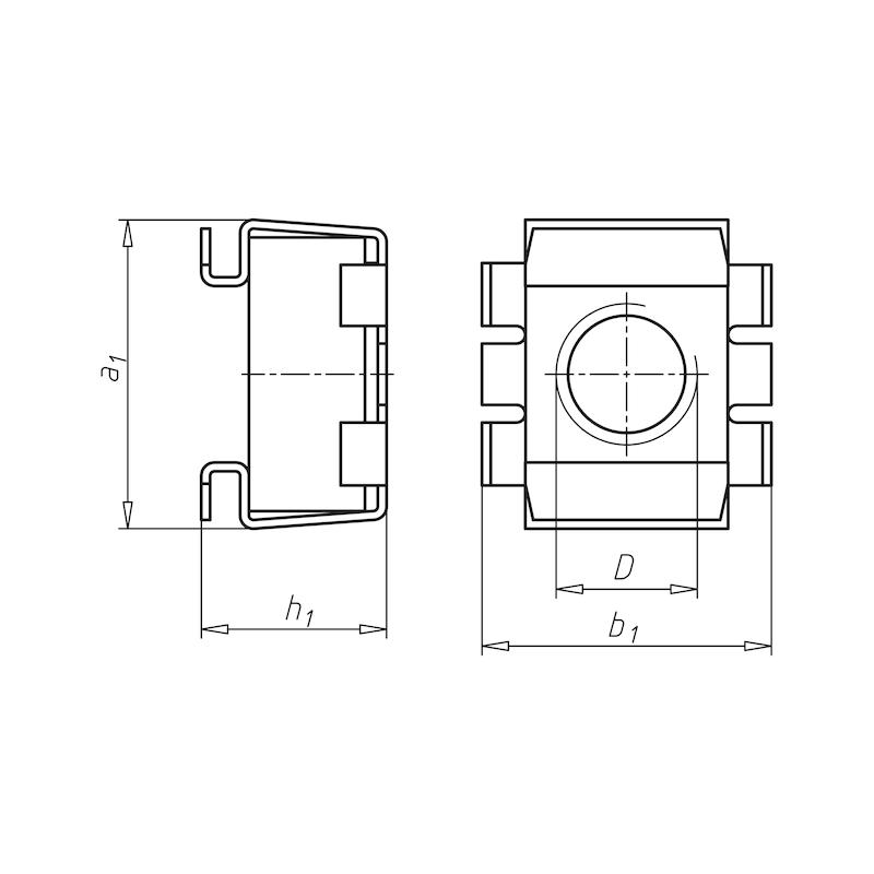 Ecrou cage  - ECR-CAGE-S SECURITE-(A2K)-1,7/2,7-M6