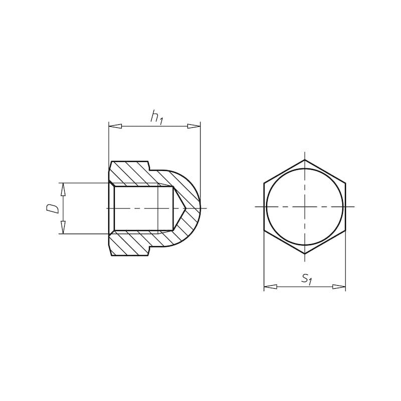 Sechskant-Hutmutter hohe Form - MU-HUT-6KT-DIN1587-A2-SW32-M22