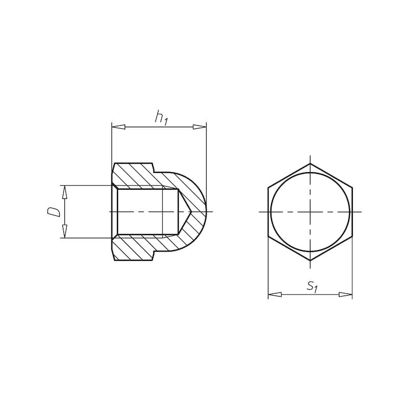 Sechskant-Hutmutter hohe Form - 0