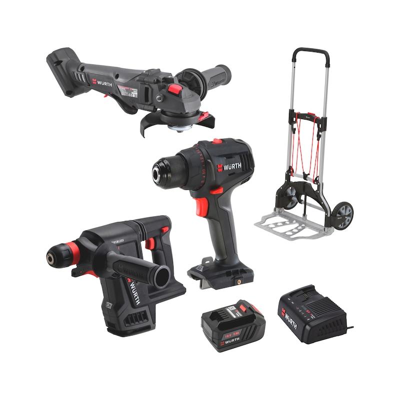 Akku-Bohrhammer-Bohrschrauber-Winkelschleifer Set - TRANSPORTKARRE + AWS + ABS + ABH