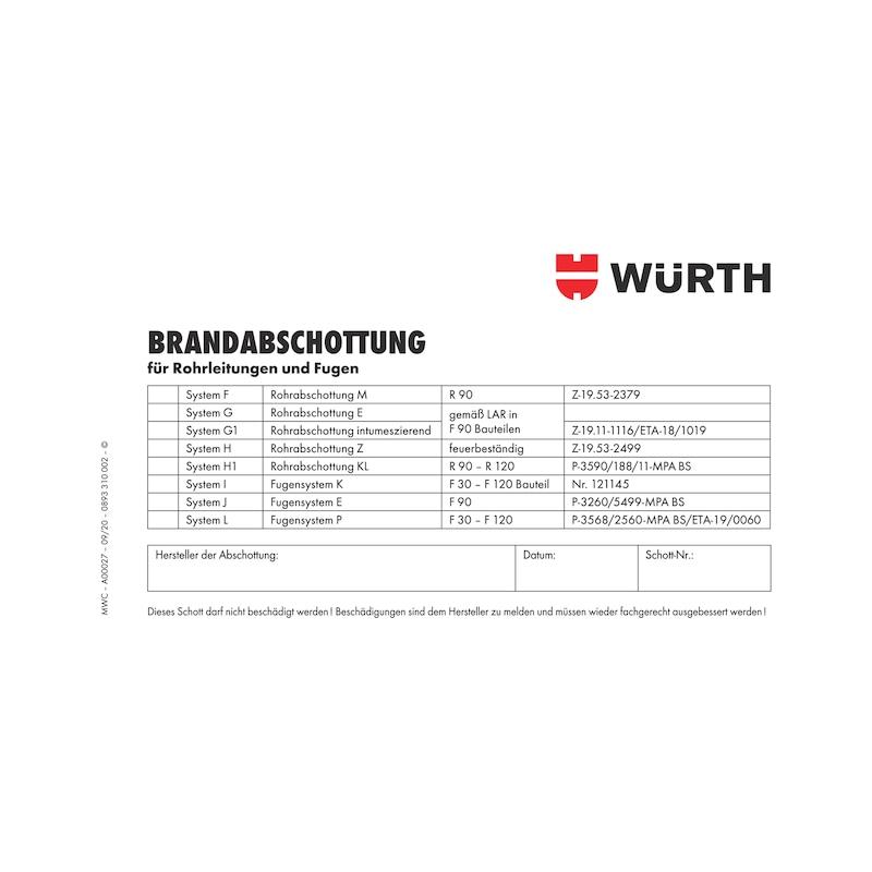 Kennzeichnungsschild Brandabschottung - KENNZSHLD-ROHRE-FUGE