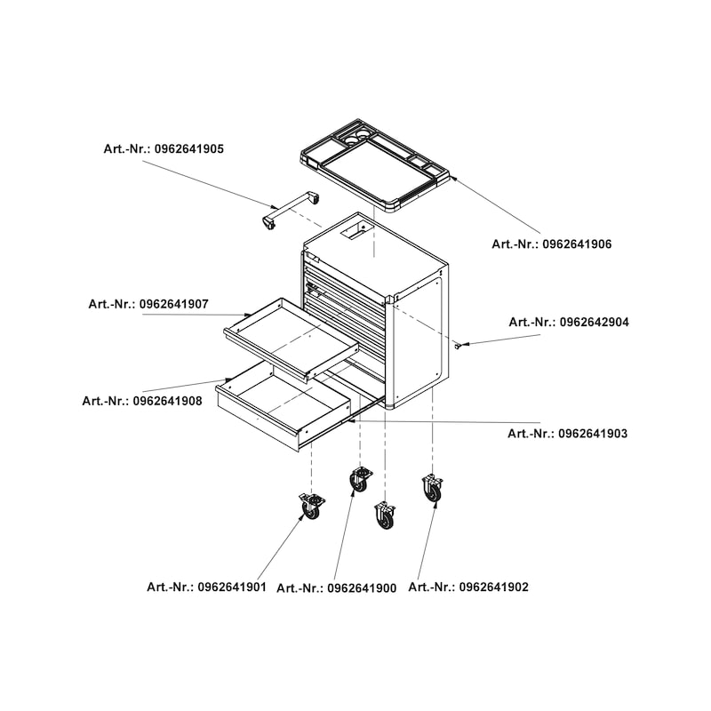 System workshop trolley 8.4, equipped - SET-317PCS-WORKSHOP-TROLLEY-SET