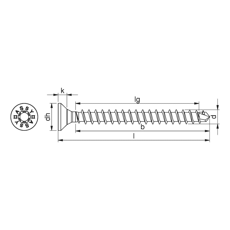 ASSY<SUP>®</SUP>plus VG 4 CS Konstruktionsschraube Stahl verzinkt Vollgewinde Senkkopf - 2