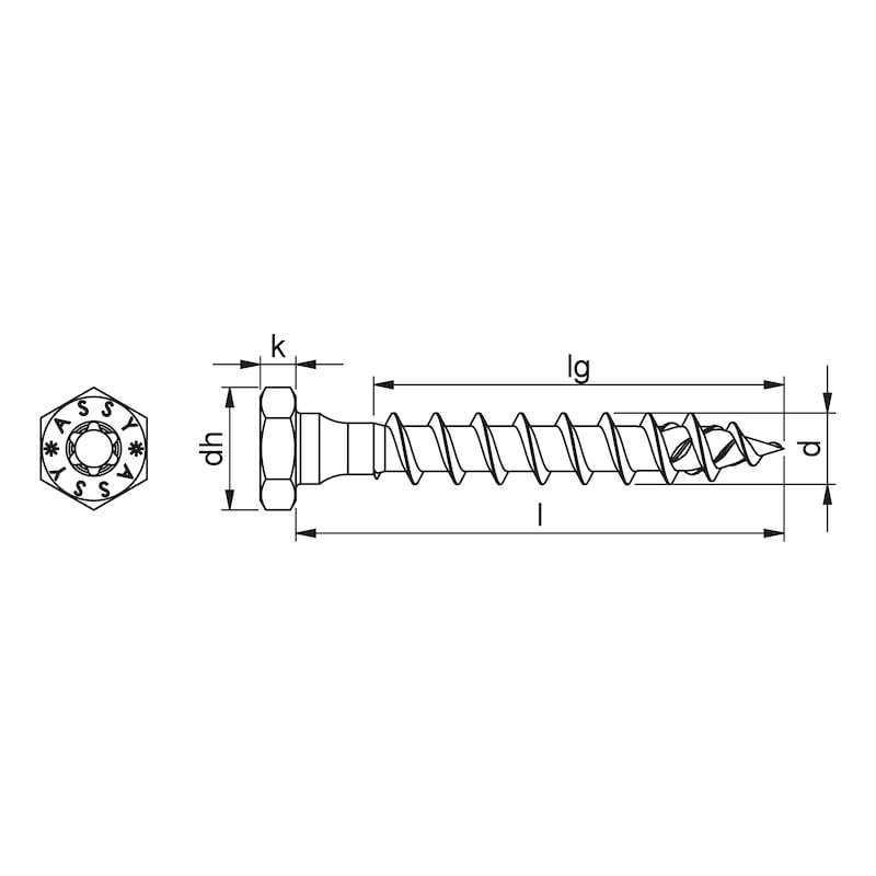 ASSY<SUP>®</SUP> 4 Combi T - Ancorante di trasporto Acciaio zincato, filetto parziale, testa esagonale - 2