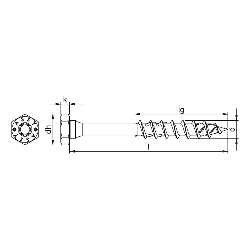 ASSY<SUP>®</SUP> 4 COMBI Holzbauschraube Stahl verzinkt Teilgewinde Sechskantkopf - 2