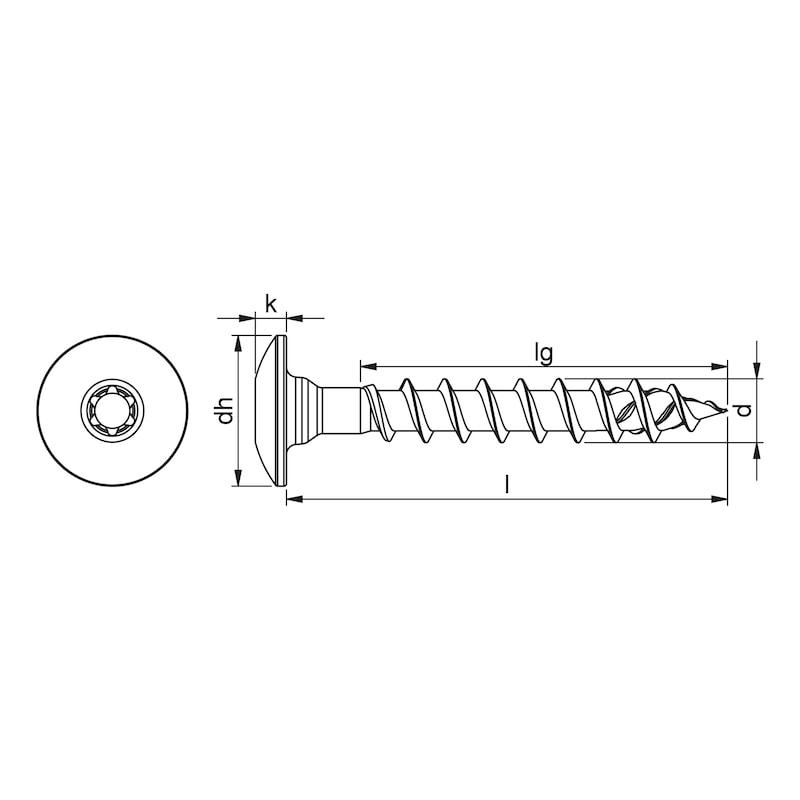 ASSY<SUP>®</SUP> 4 TRH Torbandschraube Stahl Zink-Nickel schwarz Vollgewinde Torbandkopf - 2