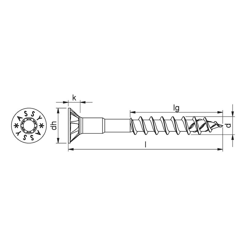 ASSY<SUP>®</SUP> 4 CSMP HO Kopflochgebohrte Universalschraube Stahl verzinkt Teilgewinde Senkfrästaschenkopf - 2