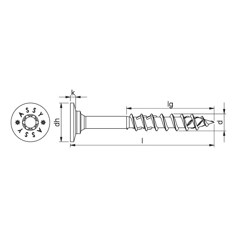ASSY<SUP>®</SUP> 4 WH II Tellerkopfschraube Stahl verzinkt Teilgewinde Scheibenkopf II - 2