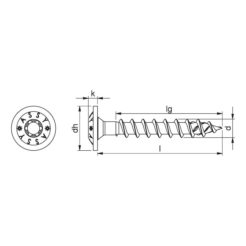 ASSY<SUP>®</SUP> 4 WH Pfostenschraube Stahl verzinkt Vollgewinde Scheibenkopf - 2