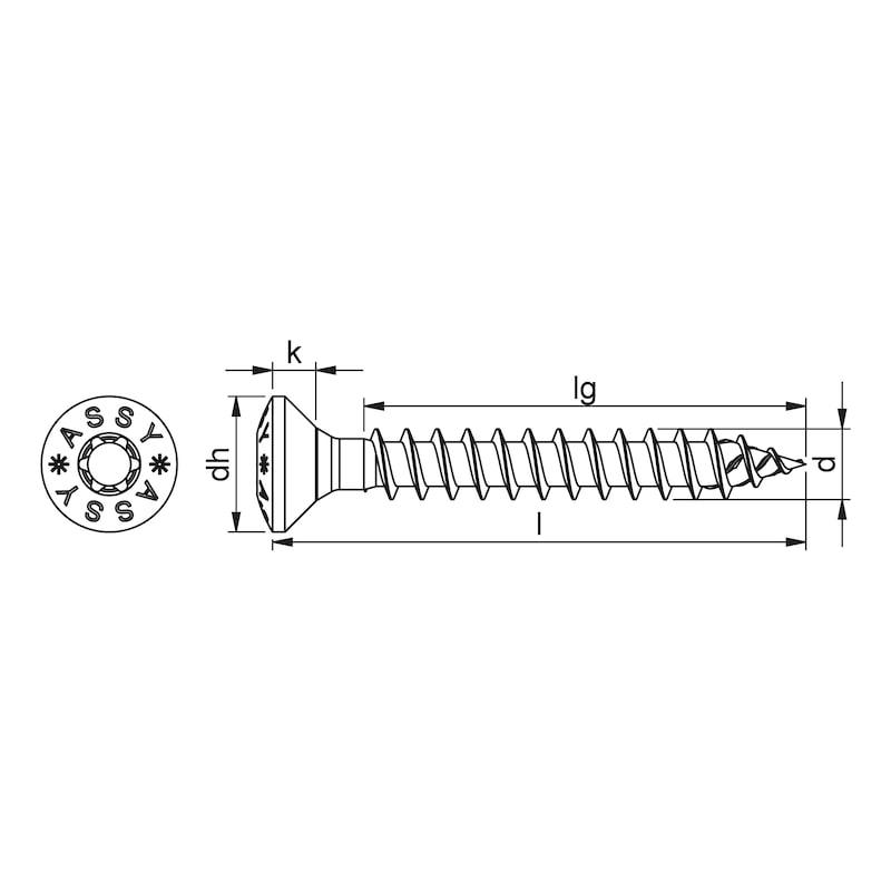 ASSY<SUP>®</SUP> 4 A2 RCS Beschlagschraube Edelstahl A2 blank Vollgewinde Linsensenkkopf - 2