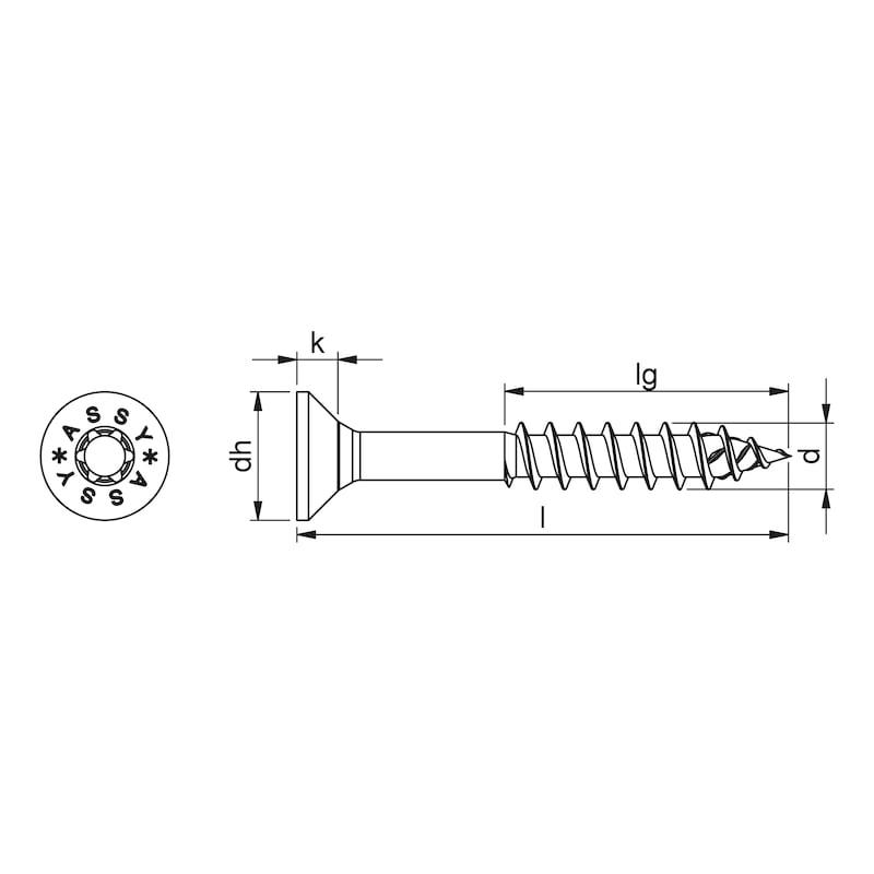 Vis ASSY<SUP>®</SUP> 4 en acier inoxydable hautement résistant à la corrosion (HCR) 1.4539 Vis en acier inoxydable hautement résistant à la corrosion 1.4539 non allié, filetage partiel, tête fraisée - 2
