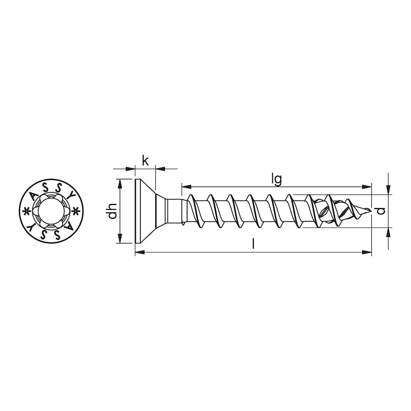 ASSY<SUP>®</SUP> 4 CS Beschlagschraube Stahl verzinkt Vollgewinde Senkkopf - 2
