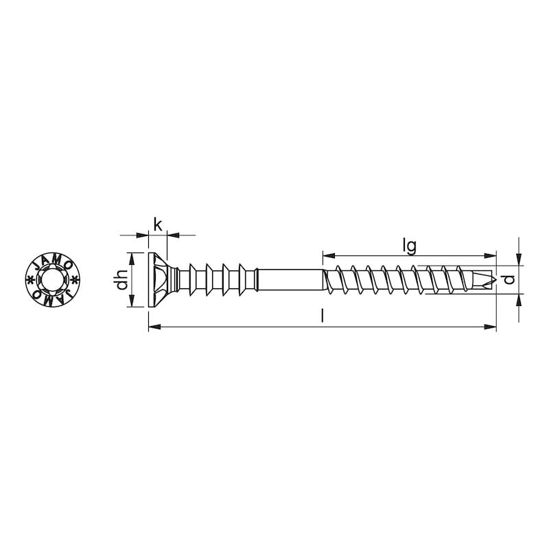 Jamo plus 4 CSMP Montageabstandschraube Stahl verzinkt Teilgewinde mit Unterkopfgewinde zur Justierung Senkfrästaschenkopf - 2