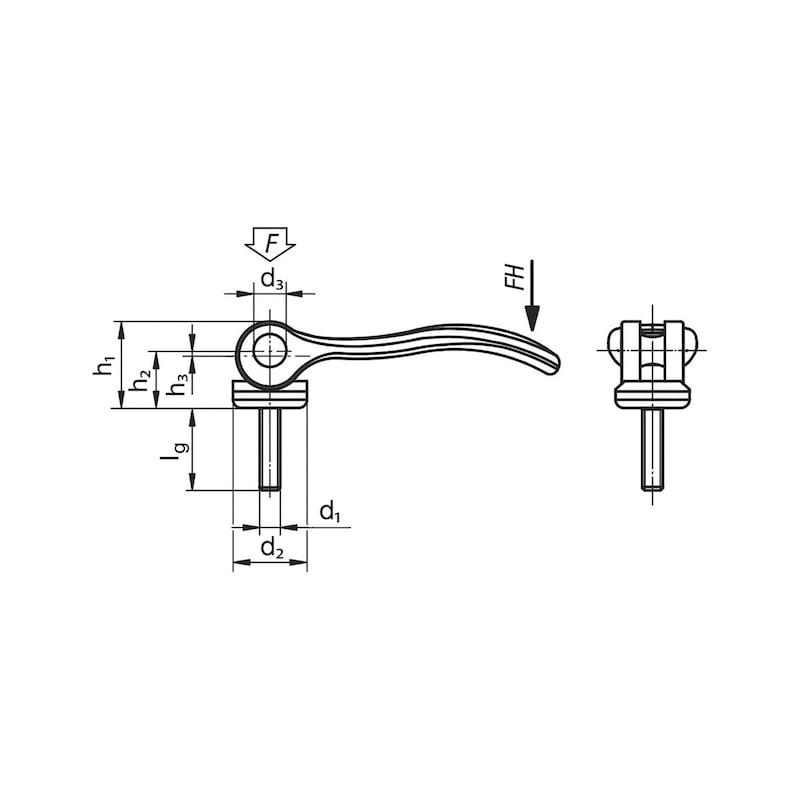Alu-Exzenterhebel mit Außengewinde - 2