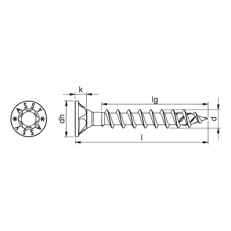 ASSY<SUP>®</SUP> 4 CSMP Universalschraube Stahl verzinkt Vollgewinde Senkfrästaschenkopf - 2