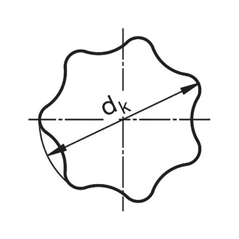 Sterngriff aus Edelstahl A2 mit Außengewinde, gestrahlt - STERNGRF-AG-A2-GESTRHL-L-D32-M6X20
