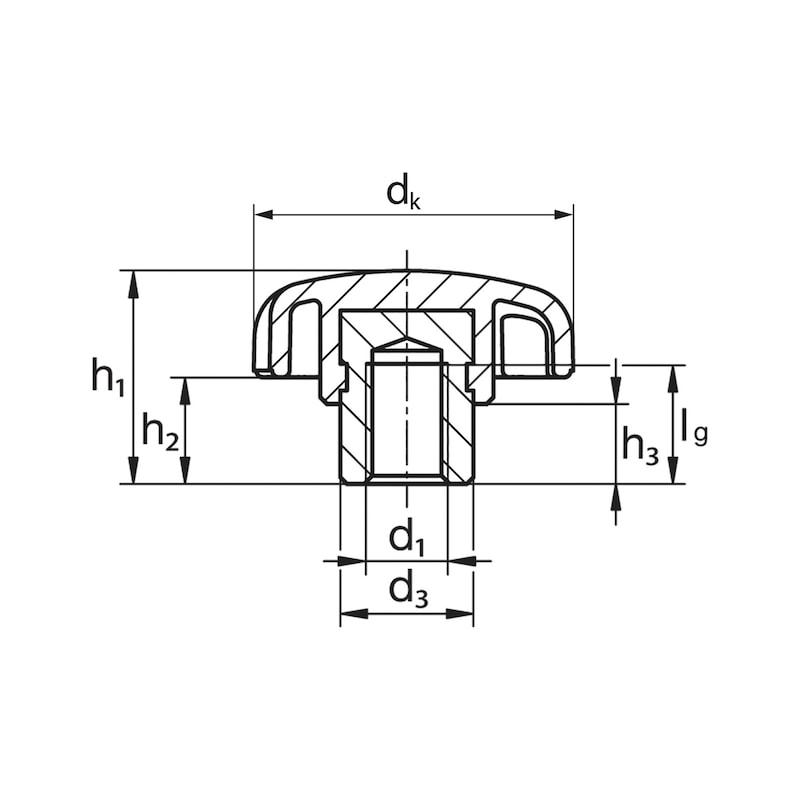 Sterngriff mit Buchse und Innengewinde - STERNGRF-STBU-IG-EDST-M12