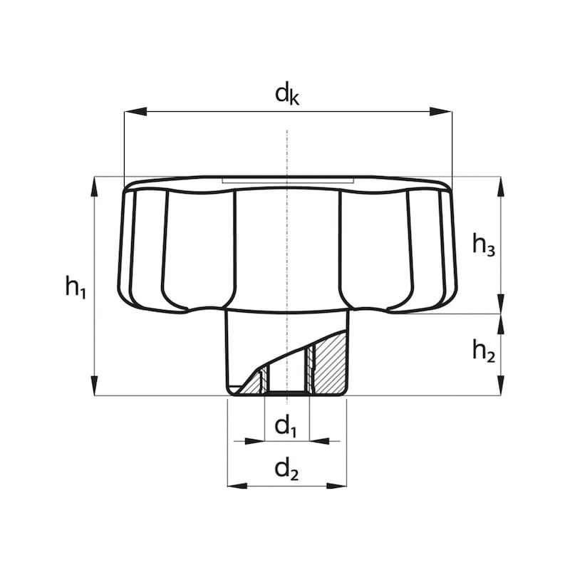 Sterngriff mit Sacklochgewinde - STERNGRF-IG-MS-M12X60
