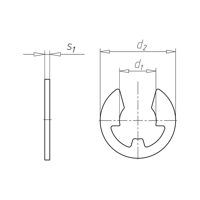 シャフト用ロックワッシャー - Eリング DIN6799 5.0MM