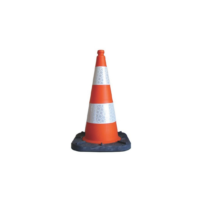 Traffic cone for construction site - CONE-PLA-RED/WHITE-D280MM