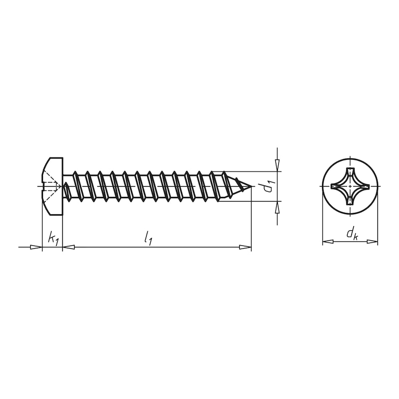 Pan head tapping screw shape C with H recessed head - SCR-PANHD-DIN7981-C-H2-A2-4,8X25