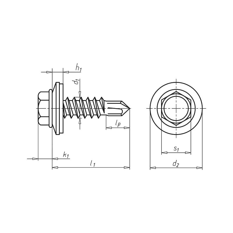 Selbstbohrende Fassadenbauschraube mit Sechskantkopf und Dichtscheibe pias<SUP>®</SUP> - SHR-BSP-SHB19-SW8-(A3K)-4,8X40