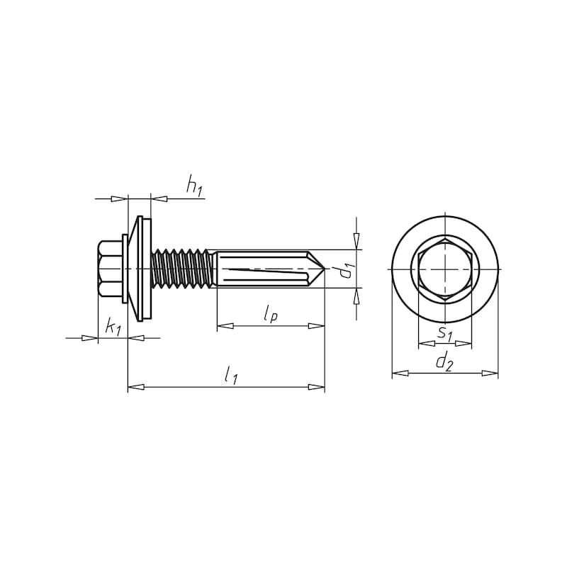 Selbstbohrende Fassadenbauschraube mit Sechskantkopf, Flansch und überlanger Bohrspitze piasta<SUP>®</SUP> - 2