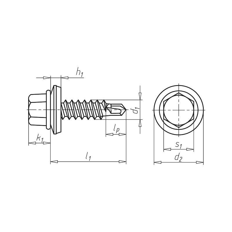 Selbstbohrende Fassadenbauschraube mit Sechskantkopf, Flansch und reduzierter Bohrspitze piasta<SUP>®</SUP> Typ 2 - SHR-BSPR-SHB16-SW3/8-(RUS)-6,3X38
