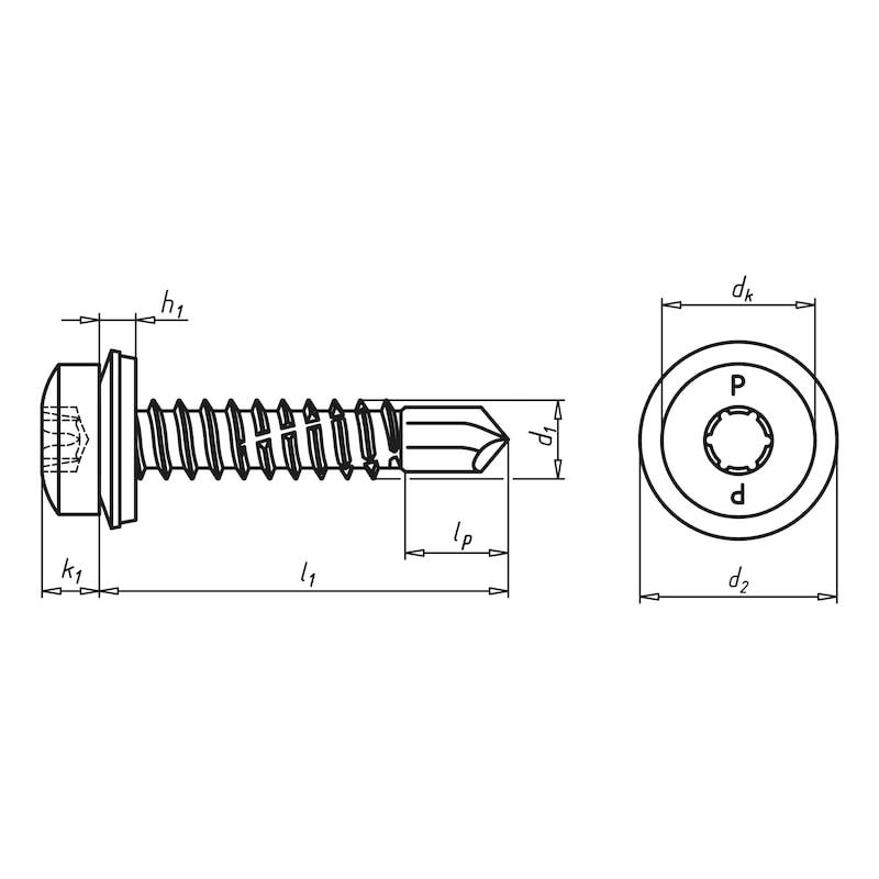 Bohrschraube Linsenkopf mit AW-Antrieb und Dichtscheibe piasta<SUP>®</SUP> - 2