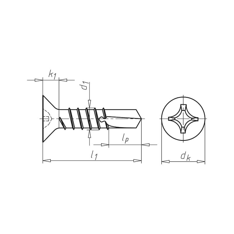 Bohrschraube mit Senkkopf mit Kreuzschlitz H pias<SUP>®</SUP> - SHR-BSP-SEKPF-H2-(A3K)-3,9X19