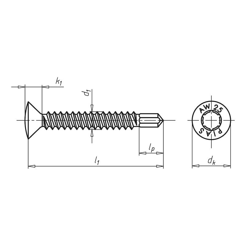 Bohrschraube Linsensenkkopf mit AW-Antrieb pias<SUP>®</SUP> - SHR-BSP-LISEKPF-A2-AW20-4,2X13