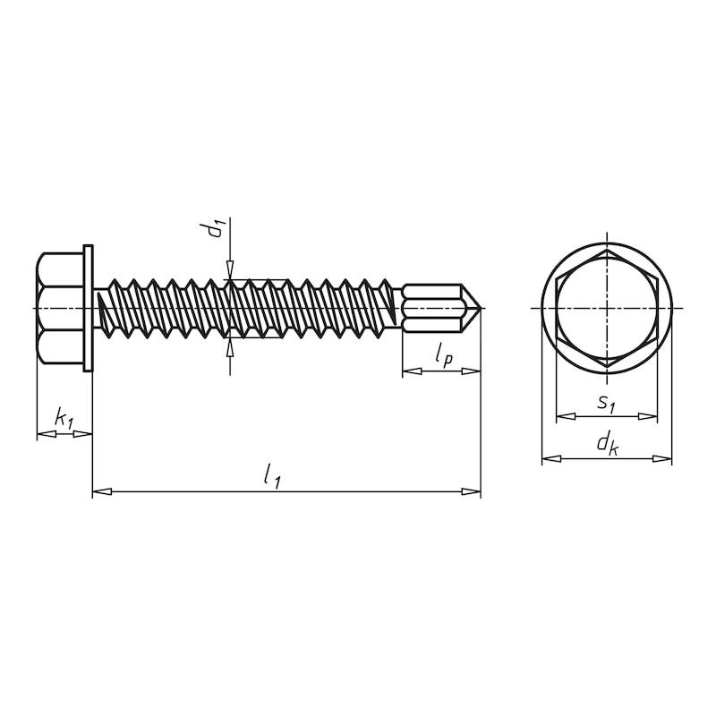 Bohrschraube Sechskantkopf mit reduzierter Bohrspitze pias® - 2