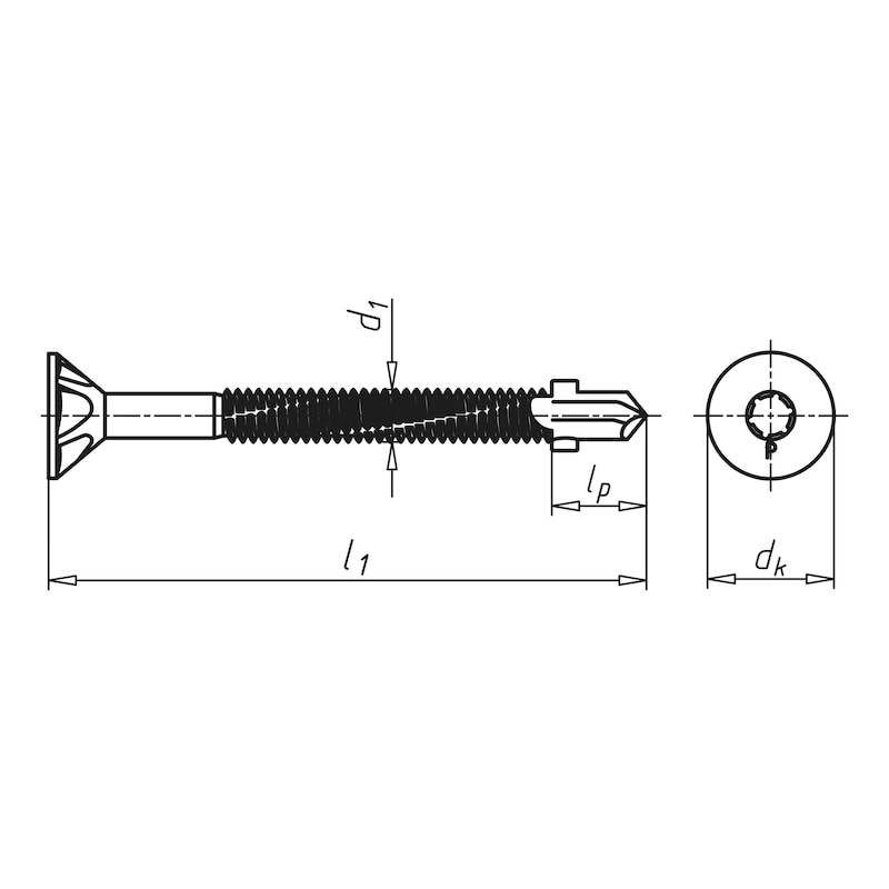 Wing-type drilling screw, countersunk head with AW drive pias<SUP>®</SUP> - 2