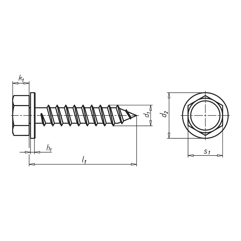 コンビ六角タッピングネジ、キャプティブワッシャー付き - 六角セムスタッピング A2K 4.8X19MM.