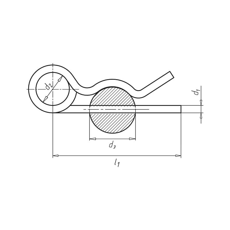 Spring cotter pin - SPGPIN-DBEYE-(ZN)-5X92