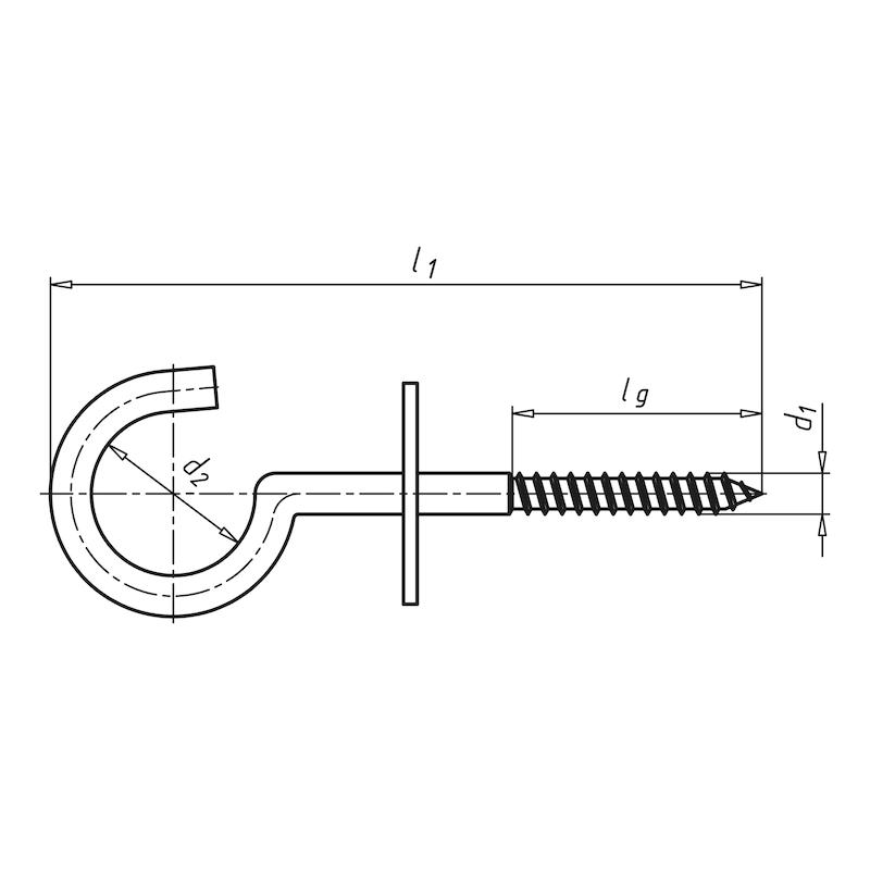 Schraubhaken gebogen mit Bund - 2