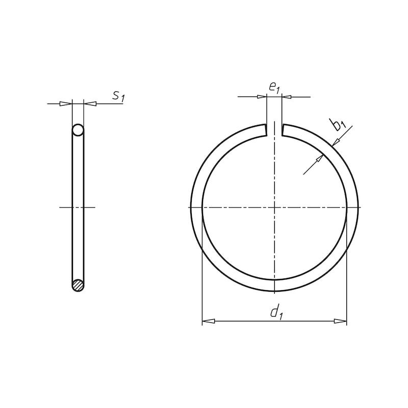 Runddraht-Sprengring und -Sprengringnute Form A für Wellen - SPRENGRG-DIN7993-A-A2-D14,0