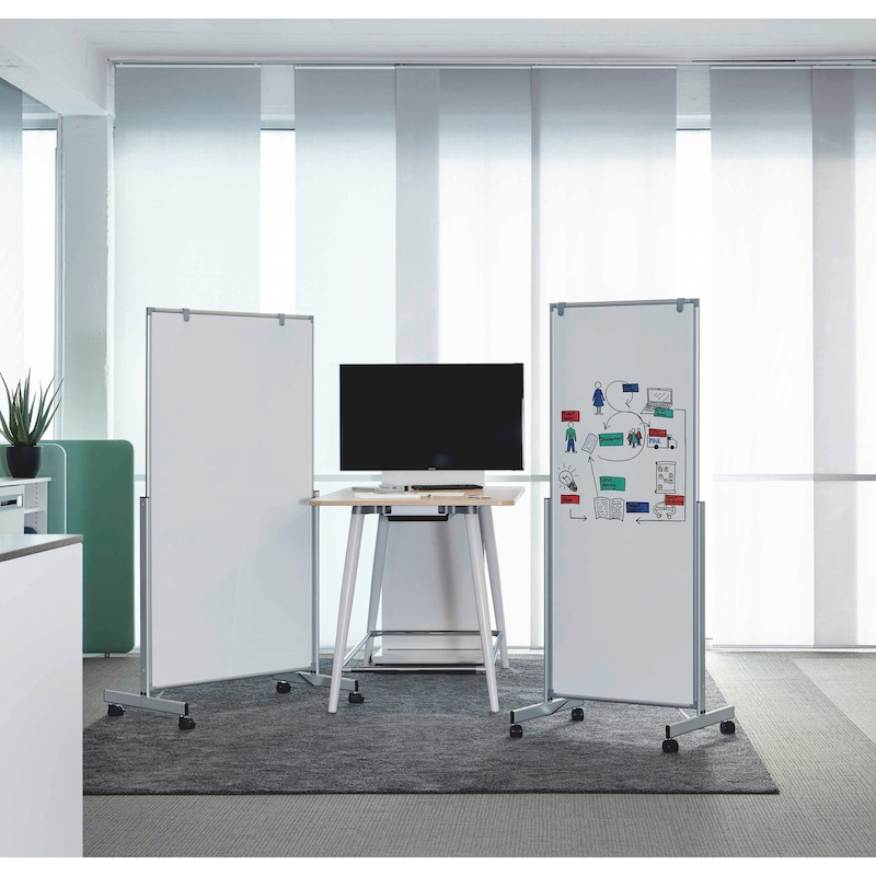 Fahrbares Whiteboard - WHTEBRD-MOB-PLV/KST-WEISS-1500X1000MM