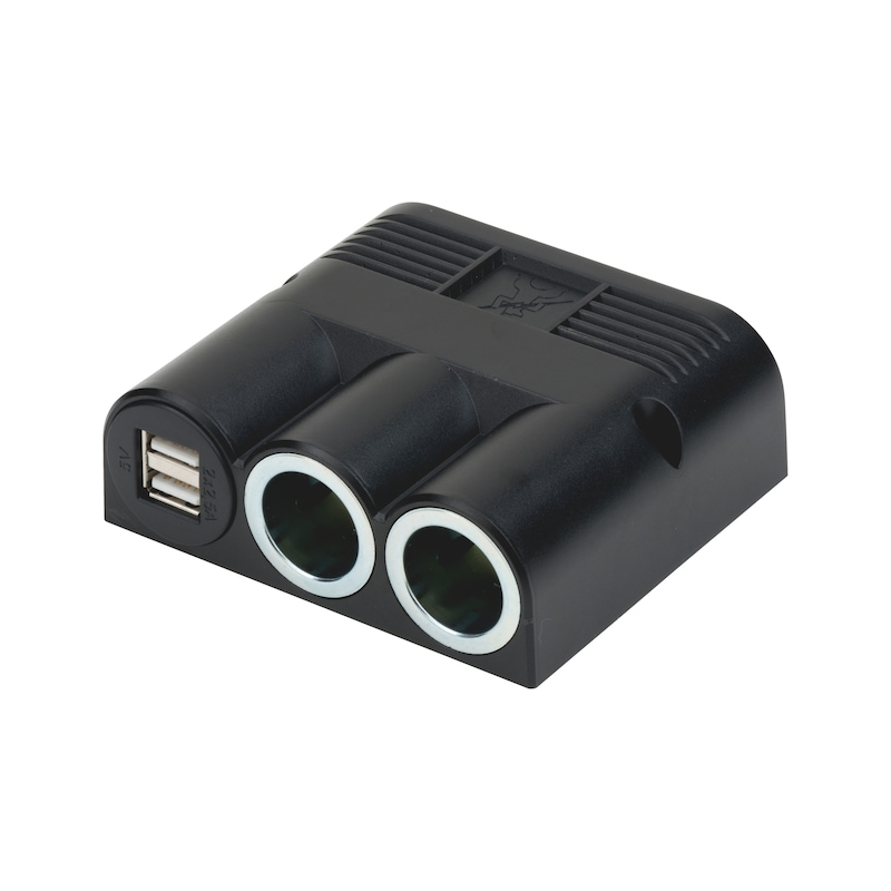 Surface-mounted socket, dual with USB