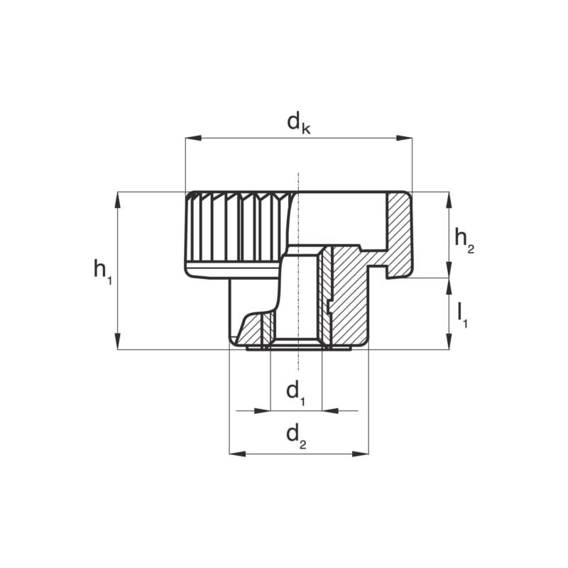 Rändelmutter mit Durchgangsgewinde - MU-RAEND-DUGWD-MS-M4X15