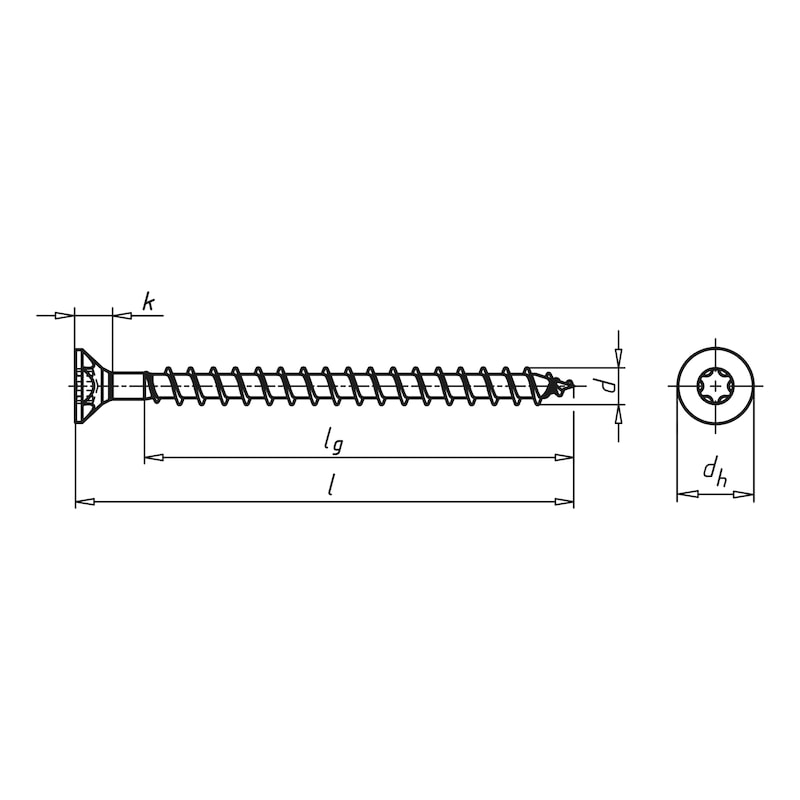ASSY<SUP>®</SUP> 3.0 A2 Particle board screw - SCR-CS-WO-A2-AW20-3,5X16/12