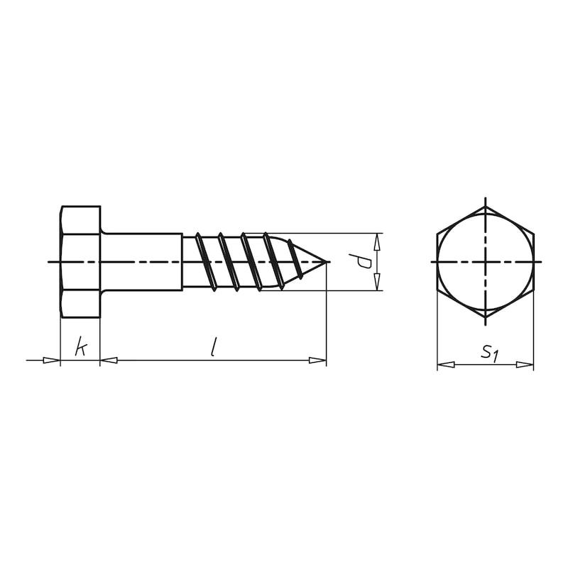 Holzschraube DIN 571 feuerverzinkt Sechskantkopf - SHR-6KT-DIN571-HO-SW17-(TZN)-10X60