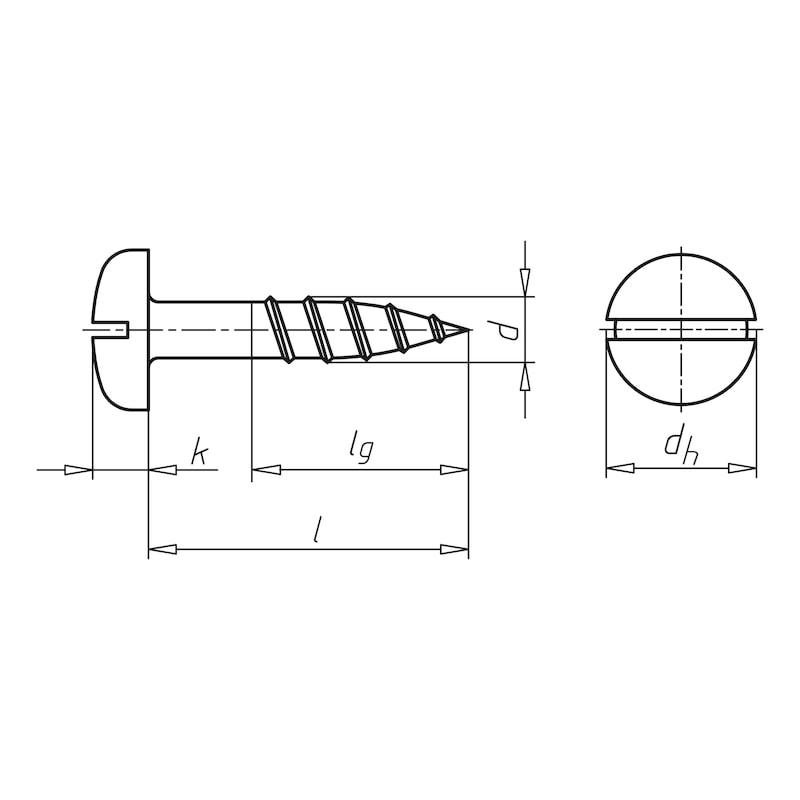 Holzschraube DIN 96 Halbrundkopf mit Schlitz - 0