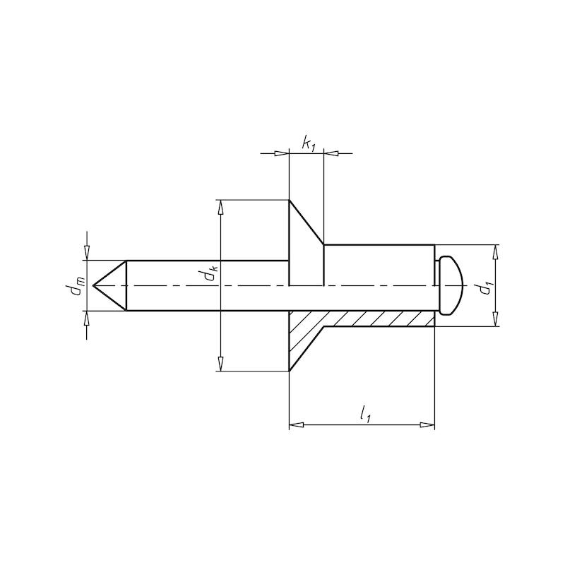 Blindniet offen mit Sollbruchdorn und Senkkopf - NT-ISO15980-ST/ST-(11,0-15,0)-4,8X20,0