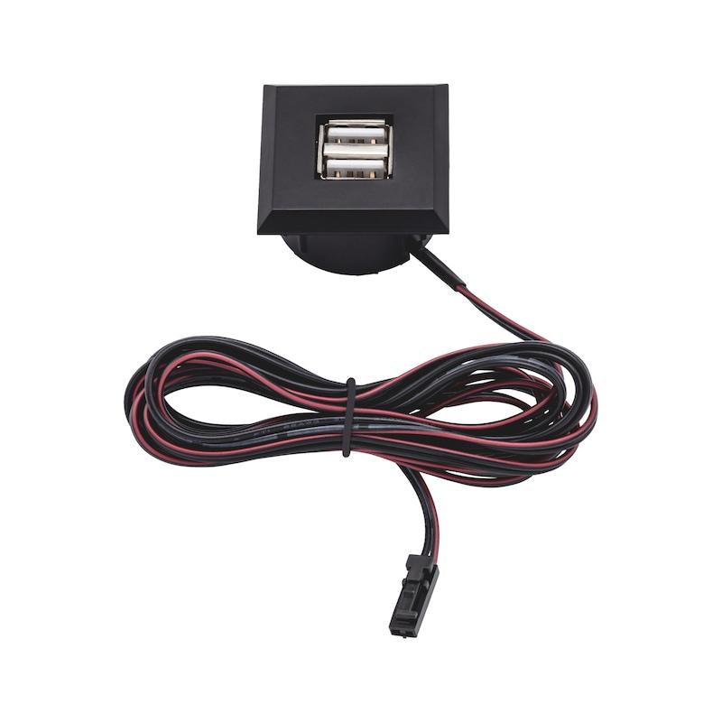 USB-Doppelsteckdose 12V aus Kunststoff im rechteckigen Design - 1